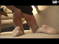 4 movies - Russian hardcore video with girl in white panties and stockings