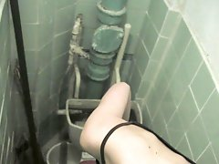 16 pictures - High angle shooting of unsuspicious cutie on the piss-can by toilet voyeur camera