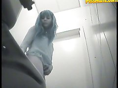 14 pictures - Chicks� gushing slits filmed by spy cam in toilet