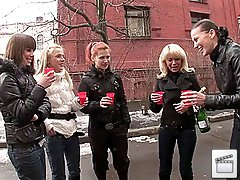 3 movies - College girls drink in the street and have group sex