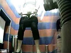 3 movies - Chick emptying her bladder in park toilet