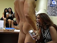 3 movies - Office slut swallows a huge cock