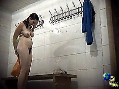 3 movies - Fatty putting her panties back on in changing room