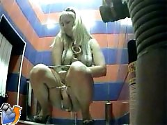 3 movies - Chick with perfect ass pees in public toilet